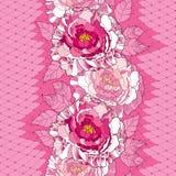 Modèle sans couture avec la pivoine dans des feuilles roses et fleuries et dentelle blanche décorative sur le fond rose illustration de vecteur