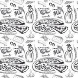 Modèle sans couture avec la pizza Images stock