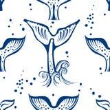 Modèle sans couture avec la queue de baleines Images libres de droits