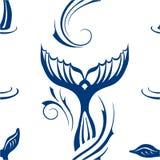 Modèle sans couture avec la queue de baleines Image libre de droits