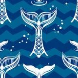 Modèle sans couture avec la queue de baleines Images stock