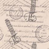 Modèle sans couture avec la tour penchée tirée par la main de Pise, marquant avec des lettres Pise et texte fané Photo stock
