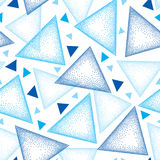 Modèle sans couture avec la triangle pointillée en le noir, le gris et le rouge sur le fond blanc Fond abstrait de triangle de ve Image stock