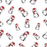 Modèle sans couture avec le bonhomme de neige de Noël Photo stock