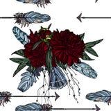 Modèle sans couture avec le bouquet de flèche et de pivoine illustration libre de droits