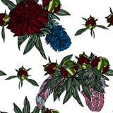 Modèle sans couture avec le bouquet et les plumes de pivoine Images libres de droits
