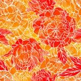 Modèle sans couture avec le bourgeon de fleur et de fleur des pivoines Photo libre de droits
