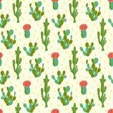 Modèle sans couture avec le cactus Photos libres de droits