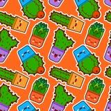 Modèle sans couture avec le cactus et les succulents mignons de kawaii avec les visages drôles dans des pots Fond orange Concepti Image stock