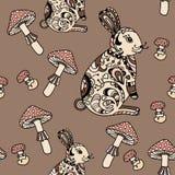 Modèle sans couture avec le champignon et le lapin Images libres de droits