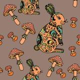 Modèle sans couture avec le champignon et le lapin Photos libres de droits