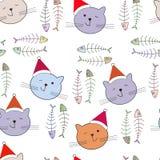 Modèle sans couture avec le chat de Santa Images libres de droits