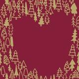 Modèle sans couture avec le coeur tiré par la main de forêt de pin Photo libre de droits