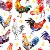 Modèle sans couture avec le coq et le poulet illustration libre de droits