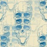 Modèle sans couture avec le crâne sur le fond grunge illustration libre de droits