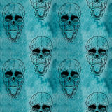 Modèle sans couture avec le crâne sur le fond grunge illustration stock