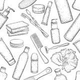 Modèle sans couture avec le croquis détaillé des éléments pour le bain Photographie stock libre de droits