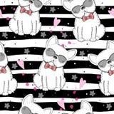 Modèle sans couture avec le croquis noir et blanc de vecteur d'un chien Illustration de vecteur Photos libres de droits