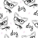 Modèle sans couture avec le croquis noir et blanc de vecteur d'un chien Illustration de vecteur Photographie stock