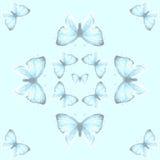 Modèle sans couture avec le cuivre-papillon bleu Photographie stock