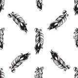 Modèle sans couture avec le dessin des plumes Image libre de droits