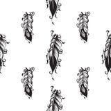 Modèle sans couture avec le dessin des plumes Photo libre de droits