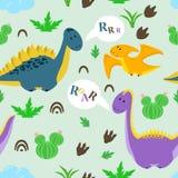 Modèle sans couture avec le dinosaure et les cactus mignons - illustration de vecteur, ENV illustration libre de droits