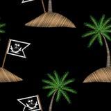 Modèle sans couture avec le drapeau de pirate avec le stit de broderie de palmier Photos stock