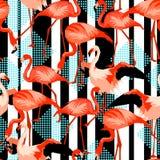 Modèle sans couture avec le flamant Oiseaux abstraits lumineux tropicaux illustration de vecteur