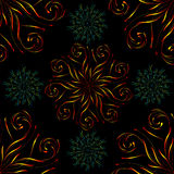 Modèle sans couture avec le grand ornement floral circulaire bleu rouge et petit sur le noir illustration stock