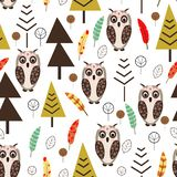 Modèle sans couture avec le hibou dans le style scandinave de forêt - illustration de vecteur, ENV illustration stock