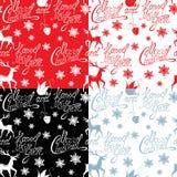 Modèle sans couture avec le Joyeux Noël des textes calligraphiques Images libres de droits
