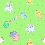 Modèle sans couture avec le lapin, les oiseaux et le poulet Photo libre de droits