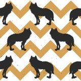 Modèle sans couture avec le loup Image stock