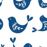 Modèle sans couture avec le motif folklorique avec des oiseaux illustration stock