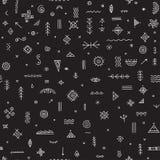 Modèle sans couture avec le noir tribal ethnique de symboles Images libres de droits