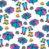 Modèle sans couture avec le parapluie, le chapeau et les bottes Image stock