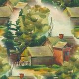 Modèle sans couture avec le paysage d'été d'aquarelle maison de village dans le paysage vert Illustration illustration de vecteur