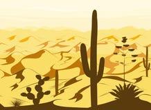 Modèle sans couture avec le paysage de désert et silhouettes de cactus dans le vecteur Illustration Libre de Droits