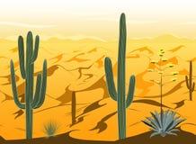 Modèle sans couture avec le paysage de désert et silhouettes de cactus dans le vecteur Illustration de Vecteur