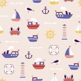 Modèle sans couture avec le petit ornement mignon de bateaux photos libres de droits