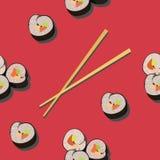 Modèle sans couture avec le petit pain de sushi et les baguettes illustration libre de droits