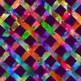 Modèle sans couture avec le plaid de rayure de brosse Couleur d'aquarelle d'arc-en-ciel sur le fond violet Texture indigène de de illustration libre de droits