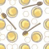 Modèle sans couture avec le plongeur de miel et le miel dans le pot avec le décor de nid d'abeilles sur le fond blanc Photos stock