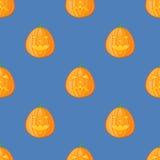 Modèle sans couture avec le potiron de Halloween sur le fond bleu illustration stock