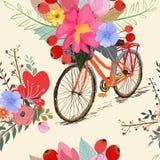 Modèle sans couture avec le printemps de vélo et de fleurs illustration de vecteur