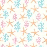 Modèle sans couture avec le récif coralien et les étoiles de mer illustration libre de droits