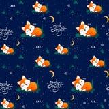 Modèle sans couture avec le renard de sommeil et les lunes mignons, étoiles, marquant avec des lettres la bonne nuit de citation  illustration de vecteur