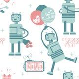 Modèle sans couture avec le robot mignon dans l'amour Photographie stock libre de droits