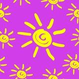 Modèle sans couture avec le soleil d'aspiration de main Image libre de droits